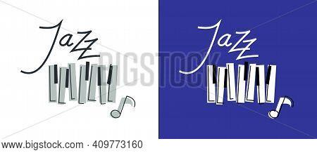 Jazz Music Emblem Or Logo Vector Flat Style Illustration Isolated, Grand Piano Logotype For Recordin
