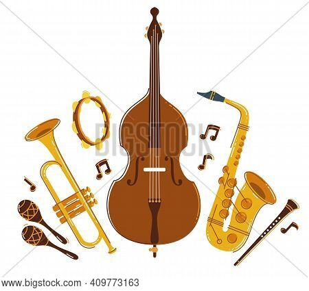 Jazz Music Band Concept Different Instruments Vector Flat Illustration Isolated On White Background,