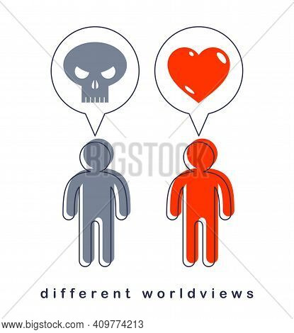 Different Worldviews Concept With Two Men Good And Bad Displaying Their Minds With Death Skull And H