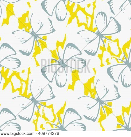 Simple Butterflies Seamless Vector Pattern In Light Colors. Girly Surface Print Design For Fabrics,