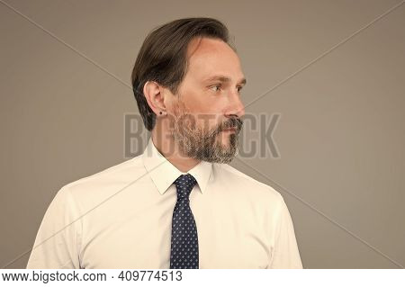 Facial Care. Mature Businessman Has Graying Hair. Confident And Handsome Man. Male Formal Fashion. S