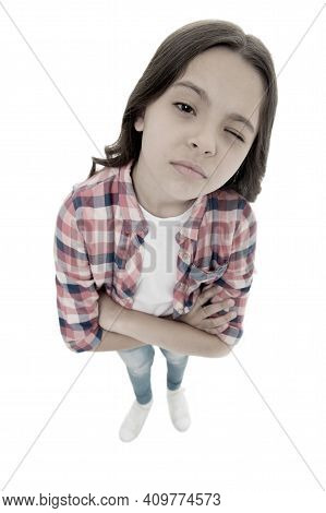 What Did You Say. Do You Need Problems. Kid Serious Bully Face White Background. Kid Unhappy Looks S