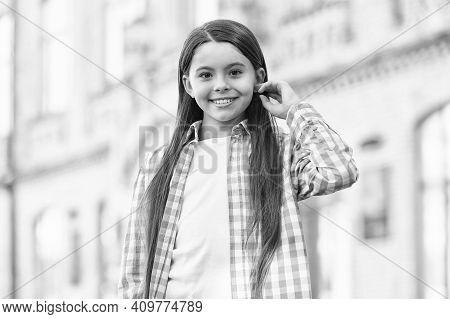 Treat Your Hair Today. Happy Girl Wear Long Hairstyle. Hair Salon. Kids Barber. Beauty Salon. Salon