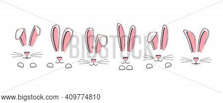Easter Vector Bunnies Hand Drawn, Face Of Rabbits. Cute Ears And Muzzle With Whiskers, Paws. Animal