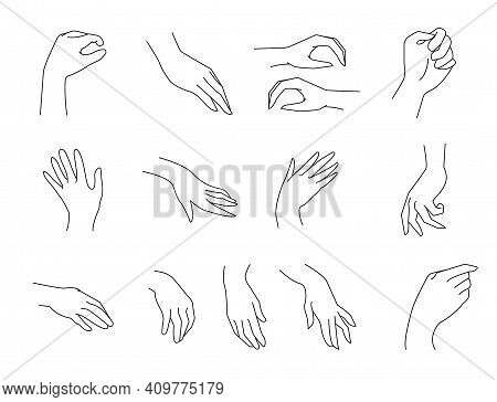 Simple Outline Vector Illustration Of Hands Palms In Different Positions. Vector Illustration One Li