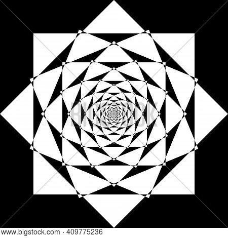 Abstract Dandelion Like Illusion Arabesque Intersections Black On Transparent Background Designer Cu