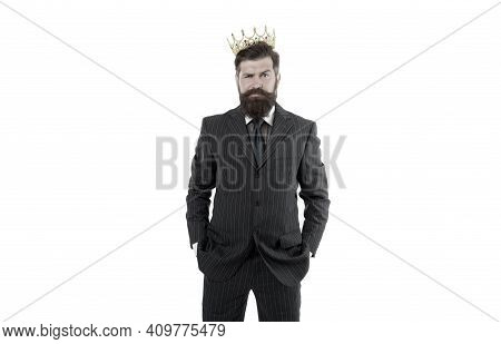 Royal Reputation. Power And Influence. Business King. Businessman Wear Crown. Business Success Conce