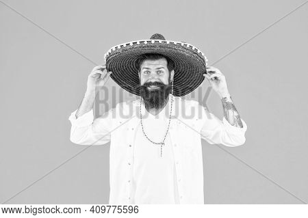 Mexican Man Wearing Sombrero. Guy In Wide Brim Hat. Ethnic Concept. Ethnic Background. Ancestry Lang