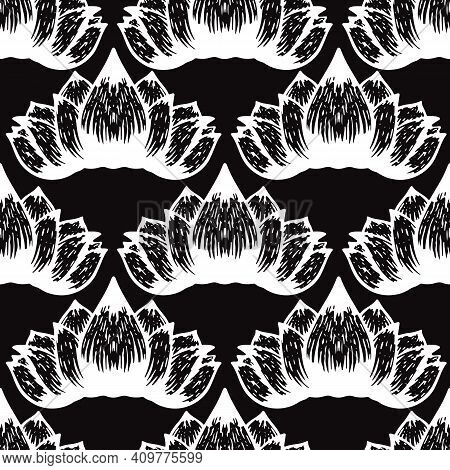 Abstact Lotus Graphic Black And White Pattern