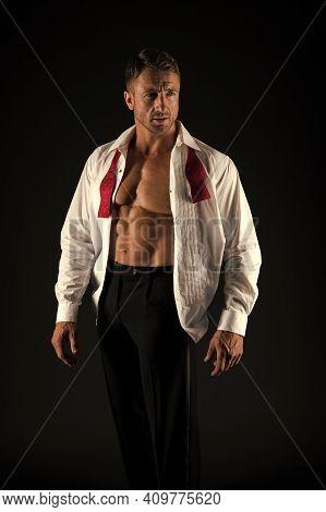 Groom Fashion. Fashion Look Of Sexy Bachelor. Athletic Man Show Muscular Torso. Groomsman Attire. We