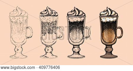Step By Step Coffe Cup Drawing In Doodle And Etching Style