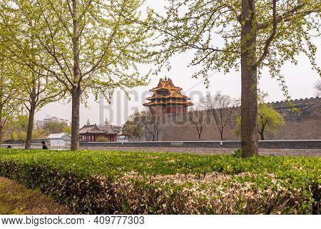 Beijing, China - April 27, 2010: Forbidden City. Moat, Ramparts, Watchtower, On Northeast Corner Und