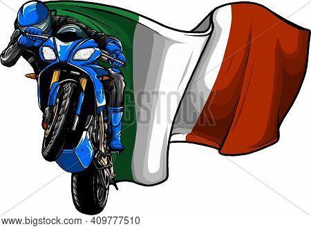 Cornering Motorbike Racer With Italian Flag Vector