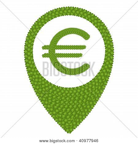 Four Leaf Clover Of Euro Sign And Navication Icon