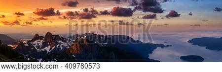 Panoramic Landscape View Of Howe Sound During A Vibrant Summer Morning. Dramatic Sunrise Sky Art Ren