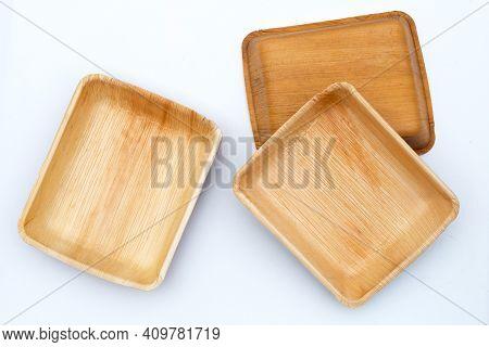 Betel Palm Leaf Plates On White Background.