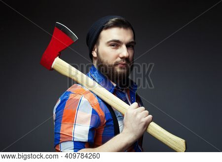 Brave enough. Brutal lumberjack. Cutting wood. Brutality and masculinity. Bearded lumberjack. Lumberjack style. Man with axe. Bearded man hold axe isolated on white. Danger concept.