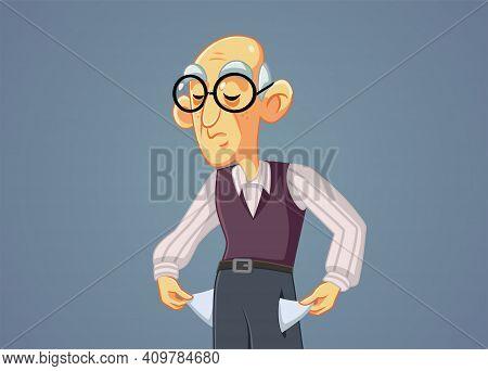 Broke Senior Man Holding Empty Pockets Vector Illustration
