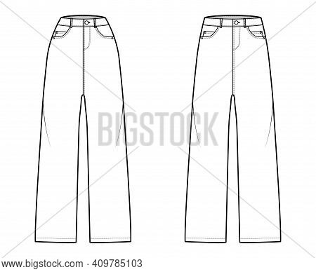 Set Of Baggy Jeans Denim Pants Technical Fashion Illustration With Full Length, Normal Low Waist, Hi