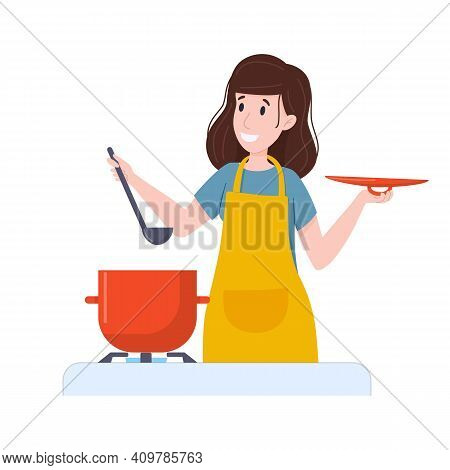 Woman Prepares Food In Saucepan. Casserole Of Soup On The Stove.