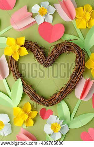 Hello Spring, Happy Easter Decorations - Pink Origami Tulips And Yellow Origami Narcissus And Wooden
