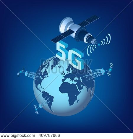 5g Lte Technology Of High Speed Data Transmission With Isometric Satellite Flying Over The Planet Ea