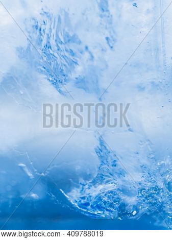 Ice Texture Close Up. Macro Shot. Soft Focus. Gradient Background.