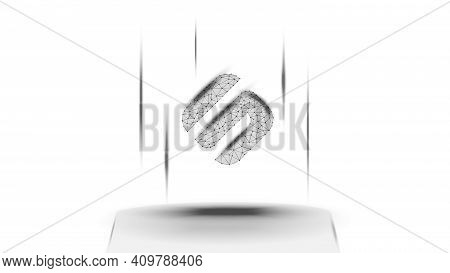 Swipe Sxp Token Symbol Of The Defi System Above The Pedestal On White Background. Cryptocurrency Log