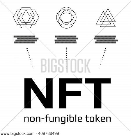 Nft Non Fungible Tokens Infographics Isolated On White. Pay For Unique Collectibles In Games Or Art.
