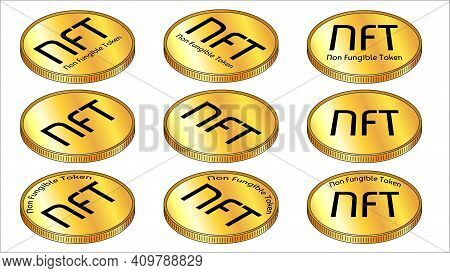 Set Of Isometric Golden Coins Nft Non Fungible Tokens Isolated On White. Pay For Unique Collectibles