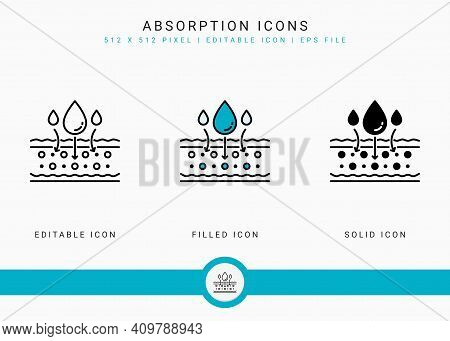 Absorption Icons Set Vector Illustration With Solid Icon Line Style. Drop Water Emulsion Concept. Ed