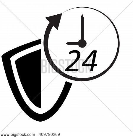 Protected 24 Hour Icon On White Background. Flat Style. Shield Sign. Shield Icon With 24 Hours A Day