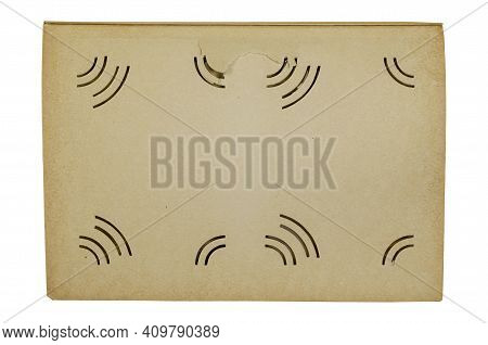 Blank Page Of The Old Photo Album Isolated On A White Background. Open Album With Special Slits For