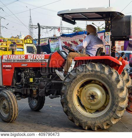 New Delhi, India – December 25 2020 : Farmer Tractors Parked At Delhi Border Where Indian Sikh And H
