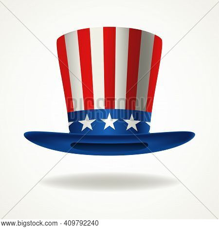 American Hat, Vector Illustration Of Uncle Sam Hat For President's Day, Vote, Presidential Election