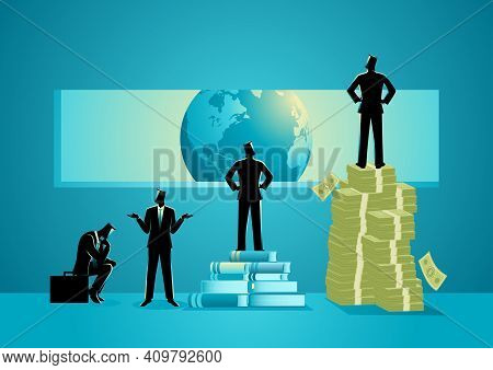 Concept Illustration Of Men With Different Point Of View About The World, Man Standing On Pile Of Bo
