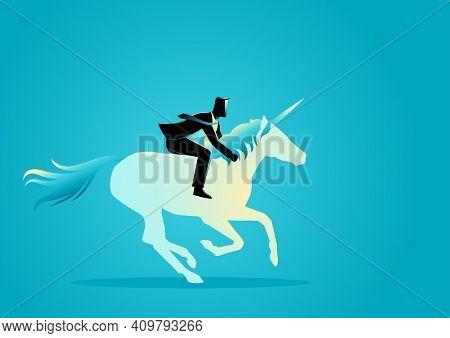 Business Concept Vector Illustration Of A Businessman Riding A Unicorn