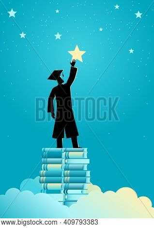 Concept Illustration Of A Man In Graduation Toga Reach Out For The Stars By Using Books As The Platf