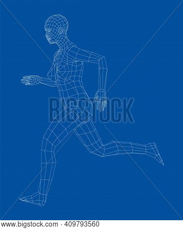 Wireframe Running Woman. Vector 3d Rendering. Man In Running Pose