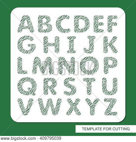 Stencil With The English Alphabet. Letters Are Made With A Pattern Of Leaves. Eco Sign, Icon, Logo F