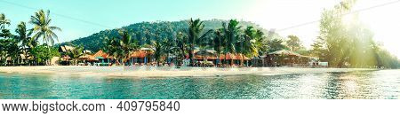 Panoramic View Of Paradise Tropical Beach. Panoramic View Of Paradise Tropical Beach Thailand Banner