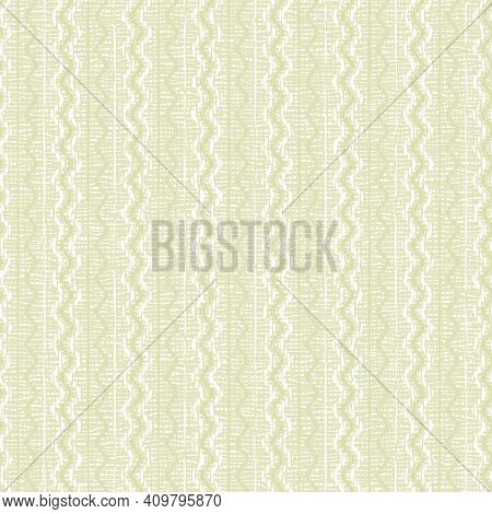 Square Seamless Background With Abstract Pattern. Light Green, White Lines, Waves. Pale Pastel Color