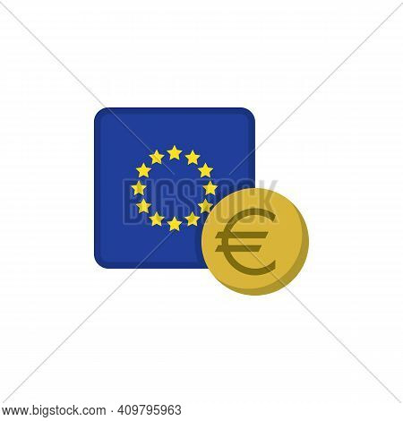 Euro Money And Flag Flat Icon, Vector Sign, Eu Currency With Flag Colorful Pictogram Isolated On Whi