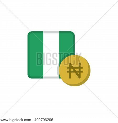 Nigerian Money And Flag Flat Icon, Vector Sign, Naira Currency With Flag Colorful Pictogram Isolated