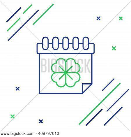 Line Saint Patricks Day With Calendar Icon Isolated On White Background. Four Leaf Clover Symbol. Da