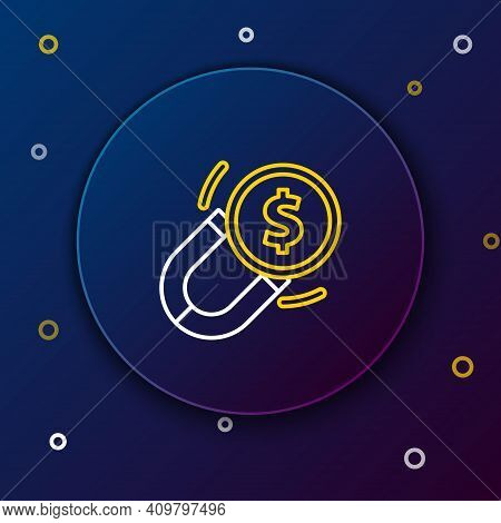 Line Magnet With Money Icon Isolated On Blue Background. Concept Of Attracting Investments. Big Busi