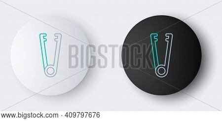 Line Meat Tongs Icon Isolated On Grey Background. Bbq Tongs Sign. Barbecue And Grill Tool. Colorful