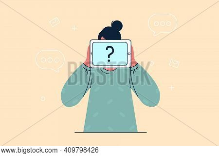 Anonymity, Self Identification Concept. Unrecognisable Woman Cartoon Character Standing With Invisib