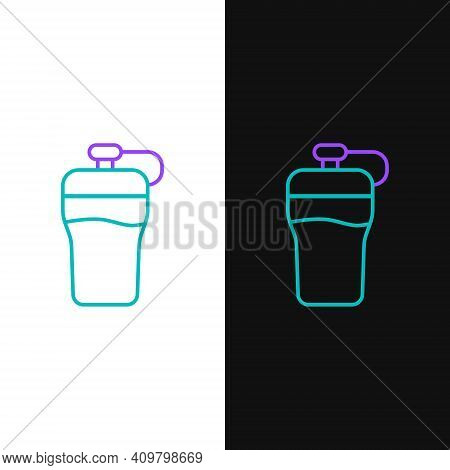 Line Fitness Shaker Icon Isolated On White And Black Background. Sports Shaker Bottle With Lid For W