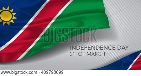 Namibia Happy Independence Day Greeting Card, Banner With Template Text Vector Illustration